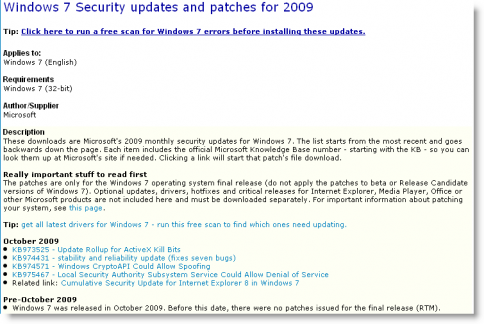 list of critical updates for windows 7