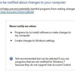 Information About Slider Bar Settings Of User Account Control In Windows 7 OS
